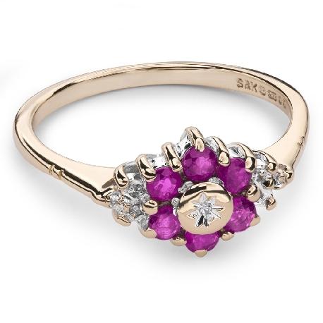 """Zelta gredzens ar dārgakmeņiem """" Krāsas 53"""""""
