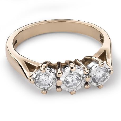"""Золотое кольцо с Бриллиантами """"Triloģija 19"""""""