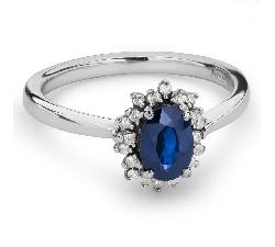"""Zelta gredzens ar dārgakmeņiem """"Safīrs 25"""""""