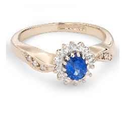 """Zelta gredzens ar Dārgakmeņiem """"Safīrs 27"""""""
