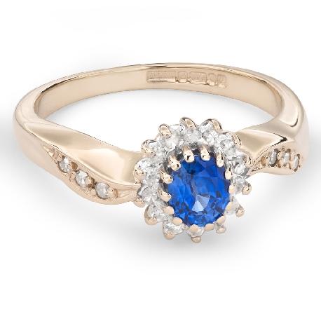 """Золотое кольцо с драгоценными камнями """"Сапфир 27"""""""