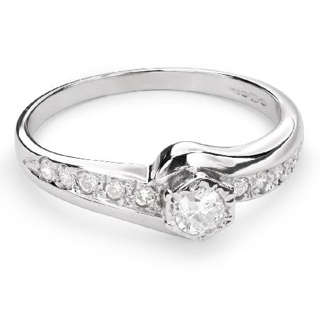 """Помолвочное кольцо с алмазами """"Вихрь 18"""""""