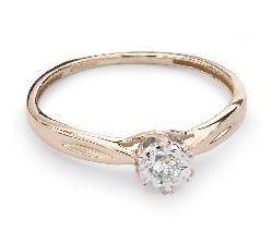 """Zelta gredzens ar Briljantu """"Mīļais 74"""""""