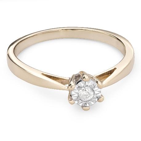 """Zelta gredzens ar Briljantu """"Mīļais 66"""""""