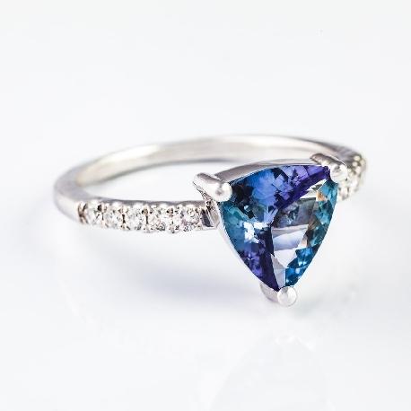 """Золотое кольцо с драгоценными камнями """"Краски 6"""""""