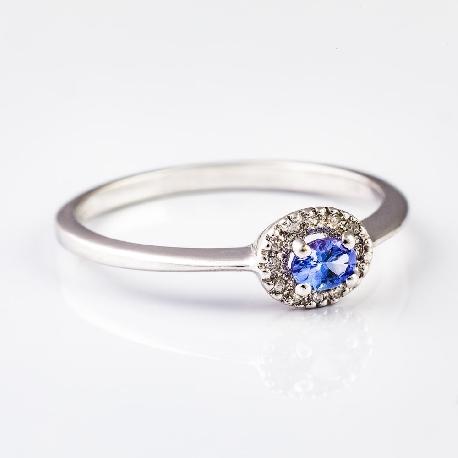 """Золотое кольцо с драгоценными камнями """"Краски 7"""""""