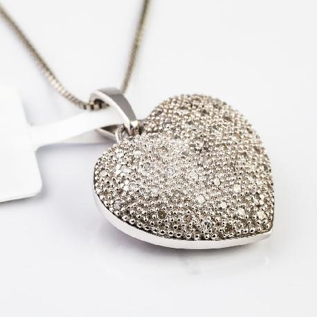 """Золотая цепочка и Золотой кулон с алмазами """"Два сердца"""""""