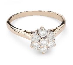 """Золотое кольцо с бриллиантами """"Бриллиантовый цветок 36"""""""