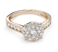"""Zelta gredzens ar briljantiem """"Briljantu pušķis 46"""""""