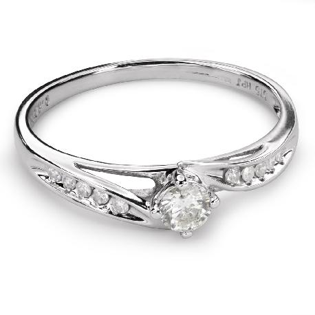 """Помолвочное кольцо с алмазами """"Вихрь 28"""""""