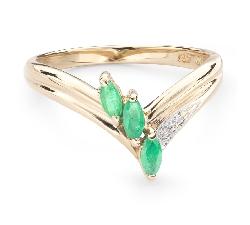"""Zelta gredzens ar dārgakmeņiem """"Smaragds 22"""""""
