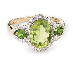 """Zelta gredzens ar dārgakmeņiem """"Krāsas 48"""""""