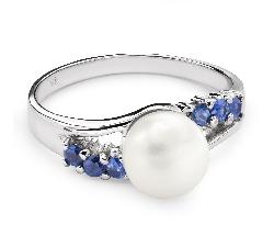 """Zelta gredzens ar dārgakmeņiem """"Pērle 7"""""""
