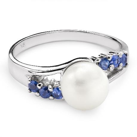"""Золотое кольцо с драгоценными камнями """"Жемчуг 7"""""""