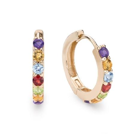 """Золотые серьги с драгоценными камнями """"Краски 73"""""""