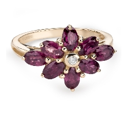 """Zelta gredzens ar dārgakmeņiem """"Krāsas 75"""""""