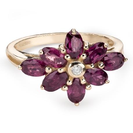 """Золотое кольцо с драгоценными камнями """"Краски 75"""""""