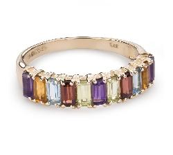 """Zelta gredzens ar dārgakmeņiem """"Krāsas 77"""""""