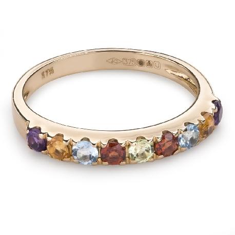 """Золотое кольцо с драгоценными камнями """"Краски 78"""""""