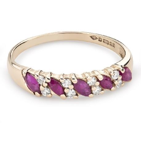 """Zelta gredzens ar dārgakmeņiem """"Krāsas 79"""""""