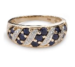 """Золотое кольцо с драгоценными камнями """"Краски 80"""""""