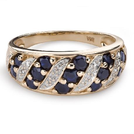 """Zelta gredzens ar dārgakmeņiem """"Krāsas 80"""""""