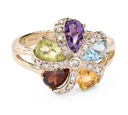 """Золотое кольцо с драгоценными камнями """"Краски 86"""""""