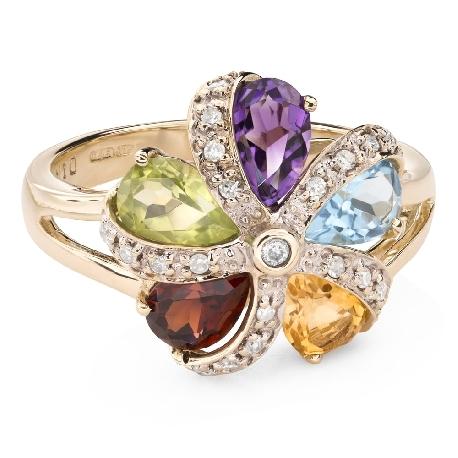 """Zelta gredzens ar dārgakmeņiem """"Krāsas 86"""""""