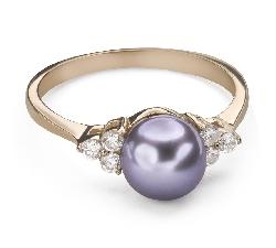 """Помолвочное кольцо с драгоценными камнями """"Жемчуг 9"""""""
