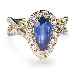 """Помолвочное кольцо с драгоценными камнями """"Сапфир 37"""""""