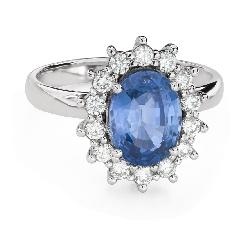 """Помолвочное кольцо с драгоценными камнями """"Сапфир 38"""""""