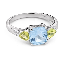 """Золотое кольцо с драгоценными камнями """"Краски 101"""""""