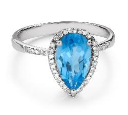 """Золотое кольцо с драгоценными камнями """"Краски 102"""""""
