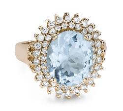 """Золотое кольцо с драгоценными камнями """"Краски 103"""""""