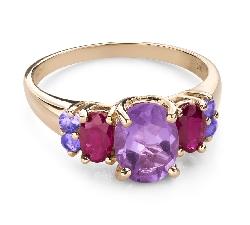 """Золотое кольцо с драгоценными камнями """"Краски 104"""""""