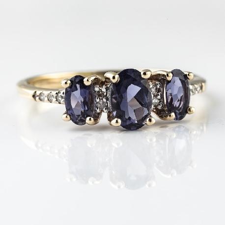"""Золотое кольцо с драгоценными камнями """"Краски 10"""""""