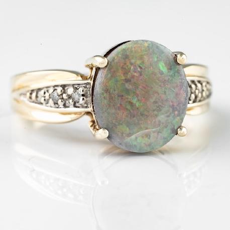 """Золотое кольцо с драгоценными камнями """"Краски 14"""""""