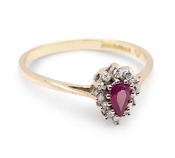 """Zelta gredzens ar dārgakmeņiem """"Rubīns 3"""""""