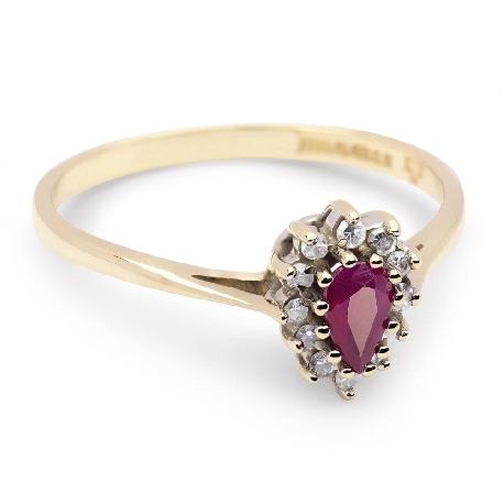 """Золотое кольцо с драгоценными камнями """"Рубин 3"""""""