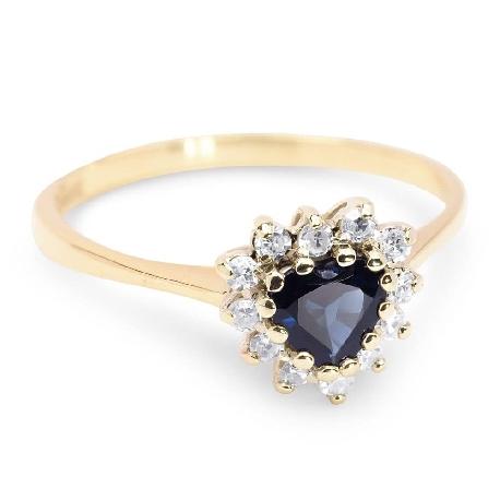 """Zelta gredzens ar dārgakmeņiem """"Safīrs 4"""""""